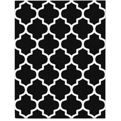 Dover Lattice Black White Modern Trellis Rug - 1