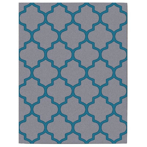 Dover Lattice Grey Blue Modern Trellis Rug - 1