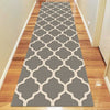 Dover Lattice Grey Beige Modern Trellis Runner Rug