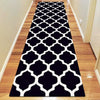 Dover Lattice Black White Modern Trellis Rug - runner