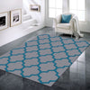 Dover Lattice Grey Blue Modern Trellis Rug - 2