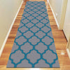 Dover Lattice Grey Blue Modern Trellis Rug - runner