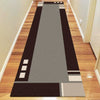 Dover Grey Abstract Multi Coloured Border Modern Rug - Runner