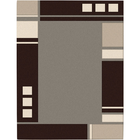 Dover Grey Abstract Multi Coloured Border Modern Rug - 1