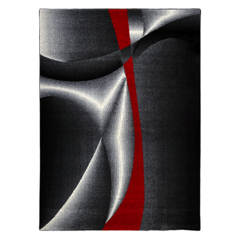 Guildford 645 Graphite Red White Modern Patterned Rug - Rugs Of Beauty - 1
