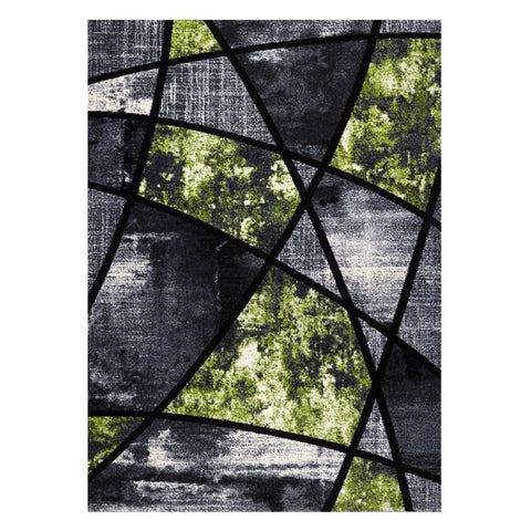 Guildford 646 Lime Green Charcoal White Modern Abstract Patterned Rug - Rugs Of Beauty - 1