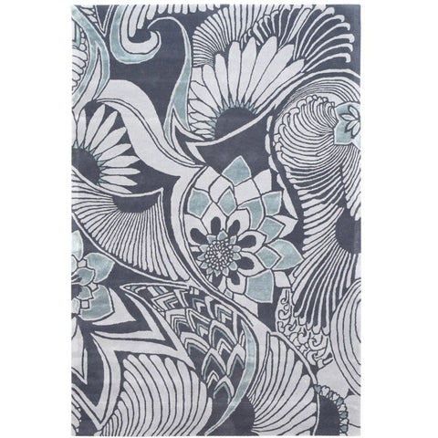 Larissa Floral Platinum Grey Wool Viscose Rug - Rugs Of Beauty