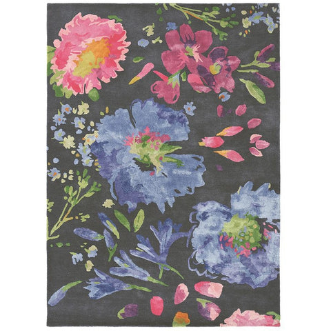 Bluebellgray Kippen 18705 Modern Designer Wool / Viscose Floral Rug - Rugs Of Beauty - 1