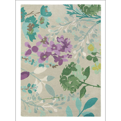 Bluebellgray Braybrooke Linen 19304 Designer Floral Wool Rug - Rugs Of Beauty
