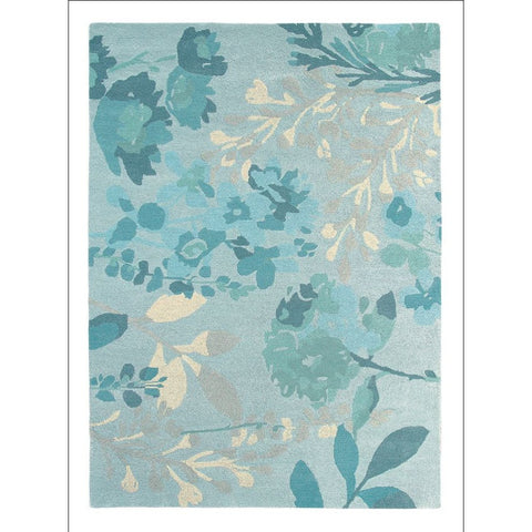 Bluebellgray Braybrooke Teal 19307 Designer Floral Wool Rug - Rugs Of Beauty