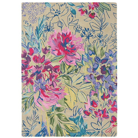Bluebellgray Ines Jardin 19904 Modern Designer Wool / Viscose Floral Rug - Rugs Of Beauty - 1