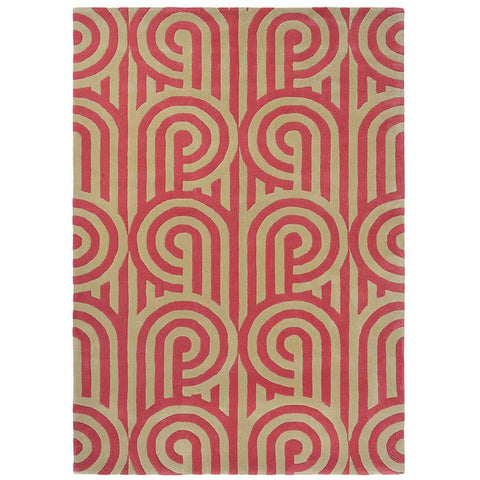 Florence Broadhurst Turnabouts Claret 039200 Designer Wool Rug - Rugs Of Beauty - 1