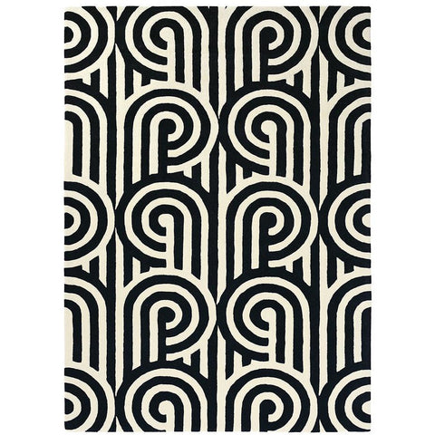 Florence Broadhurst Turnabouts Black 039205 Designer Wool Rug - Rugs Of Beauty - 1