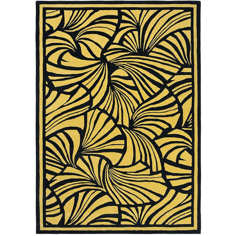 Florence Broadhurst Japanese Fans Gold 039305 Designer Wool Rug - Rugs Of Beauty - 1