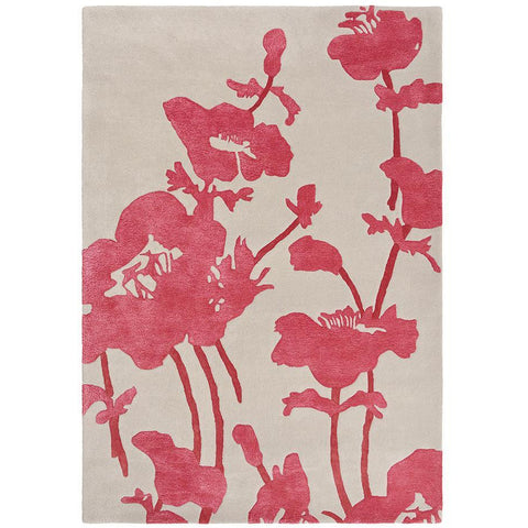 Florence Broadhurst Floral 300 Poppy 039600 Designer Wool Viscose Rug - Rugs Of Beauty - 1