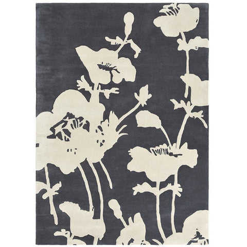 Florence Broadhurst Floral 300 Charcoal 039604 Designer Wool Viscose Rug - Rugs Of Beauty - 1
