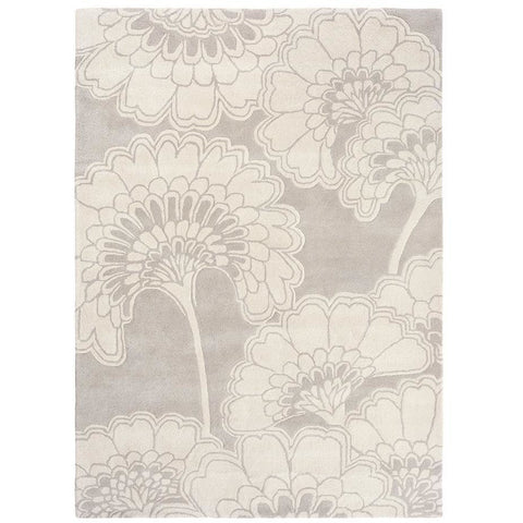 Florence Broadhurst Japanese Floral Oyster 039701 Designer Wool Rug - Rugs Of Beauty - 1