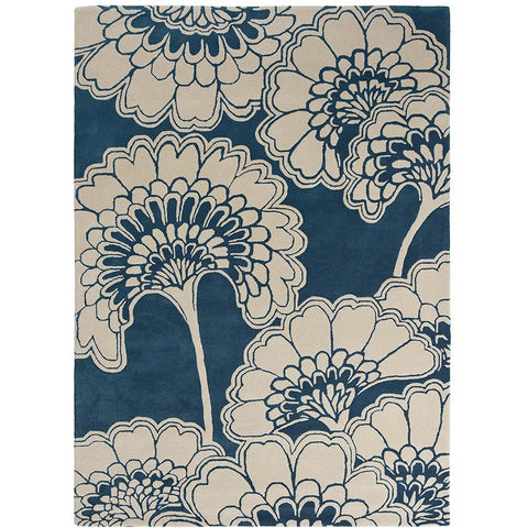 Florence Broadhurst Japanese Floral Midnight 039708 Designer Wool Rug - Rugs Of Beauty - 1