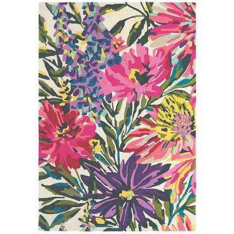 Harlequin Floreale Fuschsia 44905 Designer Modern Floral Wool Rug - Rugs Of Beauty