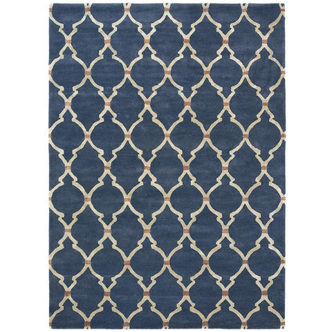 Sanderson Empire Trellis Indigo 45508 Designer Wool / Viscose Rug - Rugs Of Beauty - 1