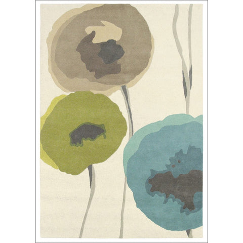 Sanderson Poppies Teal Olive 45701 Designer Pure Wool Floral Rug - Rugs Of Beauty