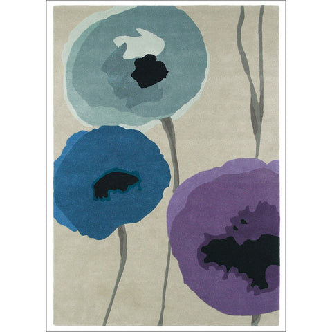 Sanderson Poppies Indigo Purple 45705 Abstract Floral Contemporary Designer Rug - Rugs Of Beauty