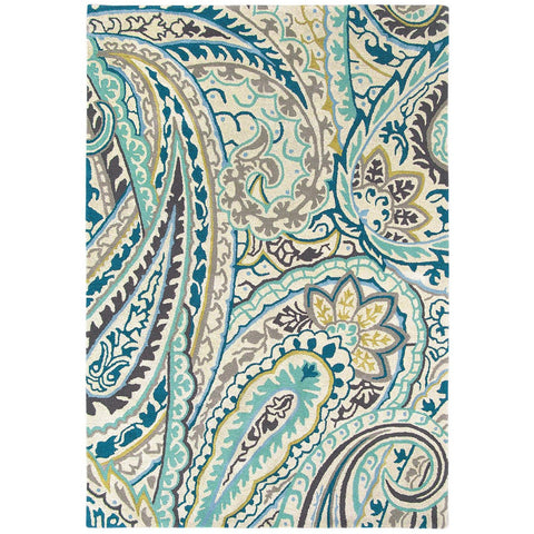 Sanderson Kashmir Azure 46908 Designer Wool / Viscose Rug - Rugs Of Beauty - 1