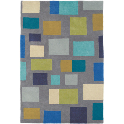 Scion Blocks Lapis Designer Wool Rug - Rugs Of Beauty