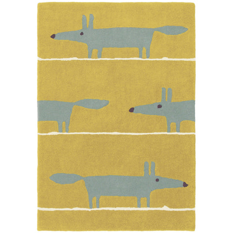 Scion Mr Fox Mustard 25306 Modern Designer Wool Rug - Rugs Of Beauty - 1