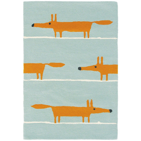 Scion Mr Fox Aqua Designer Wool Rug - Rugs Of Beauty