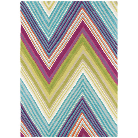 Scion Groove Lagoon Chevron Patterned 25705 Modern Designer Wool Rug - Rugs Of Beauty - 1