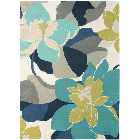 Scion Diva Kingfisher Blue Grey Designer Floral Rug - Rugs Of Beauty - 1