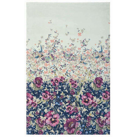 Ted Baker Gorse Pale Blue 57705 Flowers Butterflies Modern Designer Rug - Rugs Of Beauty - 1