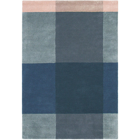 Ted Baker Plaid Grey 57804 Designer Wool Rug - Rugs Of Beauty