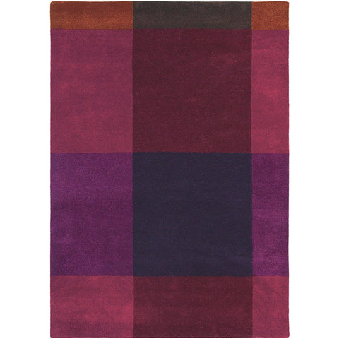 Ted Baker Plaid Burgundy 57805 Designer Wool Rug - Rugs Of Beauty