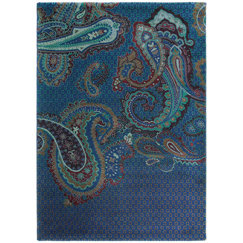 Ted Baker Paisgeo Blue 58608 Designer Wool / Tencel Rug - Rugs Of Beauty