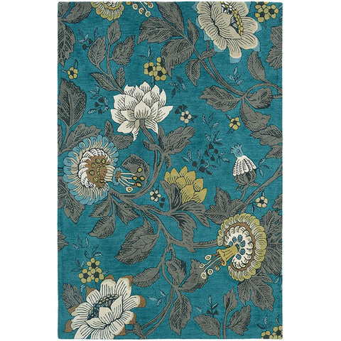 Wedgwood Passion Flower Teal Designer Rug - Rugs Of Beauty