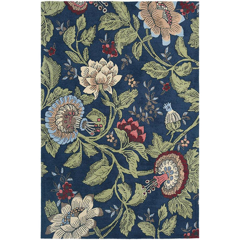 Wedgwood Passion Flower Navy Designer Rug - Rugs Of Beauty