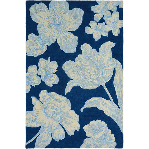 Wedgwood Vibrance Navy Designer Wool Rug - Rugs Of Beauty - 1