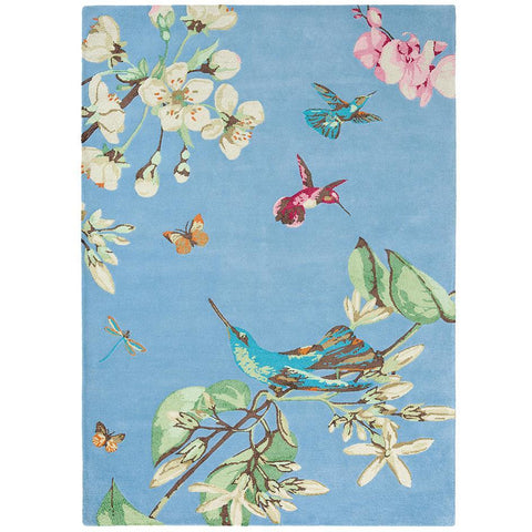 Wedgwood Hummingbird Blue 37808 Wool Viscose Designer Rug - Rugs Of Beauty - 1