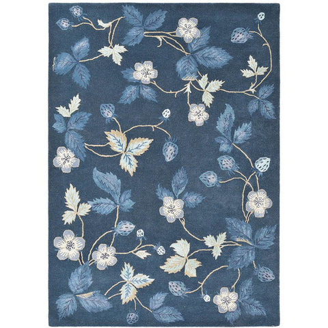 Wedgwood Wild Strawberry Navy Blue 38118 Wool Viscose Designer Rug - Rugs Of Beauty - 1