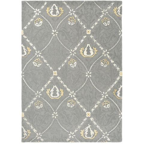Morris & Co Pure Trellis Lightish Grey 029104 Designer Wool Viscose Rug - Rugs Of Beauty - 1