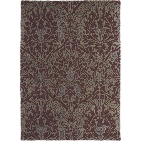 Morris & Co Autumn Flowers Plum 27500 Designer Wool / Viscose Rug - Rugs Of Beauty - 1