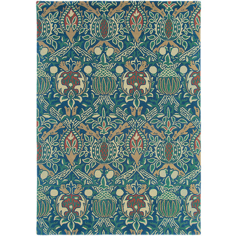 Morris & Co Granada Indigo Red 27608 Designer Wool Rug - Rugs Of Beauty