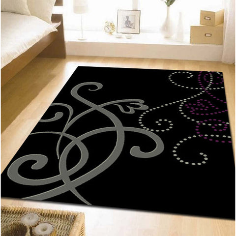 Art Deco Rug Black Grey Cream Purple - Rugs Of Beauty - 1