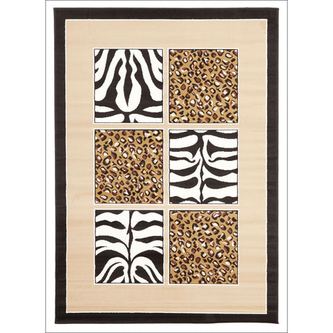 African Print Black and Off White Rug - Rugs Of Beauty