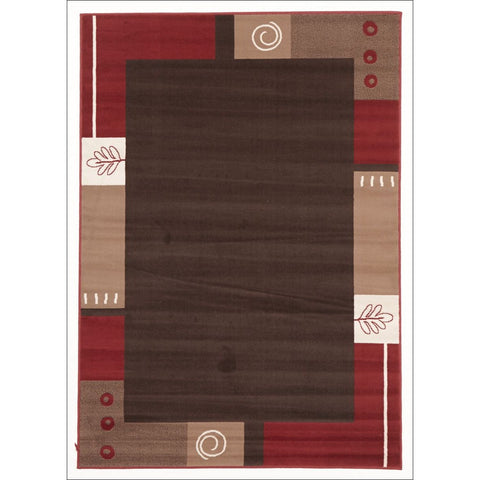 Border Pattern Rug Brown Beige Red - Rugs Of Beauty - 1