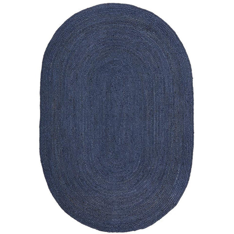 Miami 850 Navy Blue Jute Oval Rug - Rugs Of Beauty - 1