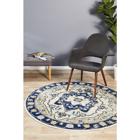 Selje 601 Blue Transitional Bohemian Inspired Round Rug - Rugs Of Beauty - 1