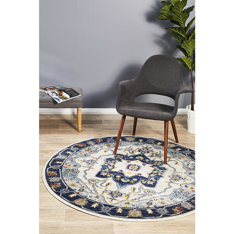 Selje 601 Navy Blue Cream Transitional Bohemian Inspired Round Rug - Rugs Of Beauty - 1